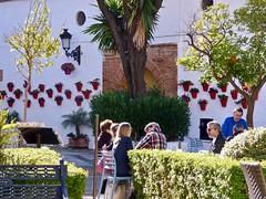 Plaza  de los Naranjos . (Franc Le Blanc .) Tags: marbella plazadelosnaranjos people bloempotten sit sitting seated