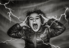 Thunder is good, thunder is impressive; but it is lightning that does the work. ~ Mark Twai~ (Lorrainemorris) Tags: portrait 1635 zeiss fun wind girl storm creative art artistic lorrainemorris drama dramatic mood photoshop lightroom rain blackandwhite mono child lighting tunder sonyilce sony7rm2 sony