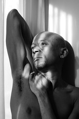 Darryl # 34 (just.Luc) Tags: bn nb zw monochroom monotone monochrome bw man male homme hombre uomo mann barechested torsenu shirtless bald kaal portret portrait ritratto retrato porträt face gezicht visage gesicht africanamerican