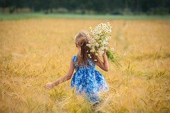 Summer in Russia (juliaruspirit) Tags: girls children joy summer field colorful dancing flowers cat whitecat running camomile church orthodoxy russian russia