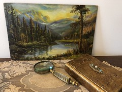 The Missing Mark (Cabinet of Old Secret Loves) Tags: groupofseven franklincarmicheal landscape oilpainting painting art ghostales1957 annabelanger artist story storyteller tale treasure vintage artsy book gold gilding antique writing write literature writer storytelling narrative fairytale dream daydream wakingdream