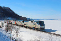 Look Who Showed Up (view2share) Tags: amtk153 amtk50 amtk156 p42 amtrak 8 number8 empirebuilder lakepepin cp cprail cprailsystem cpr riversub river mississippiriver mississippirivervalley uppermississippirivervalley mississippi afternoon passenger passengertrain passengercar lakeview ice bluff bluffs sun sunshine sunny mainline scenic scenery view winter snow snowcover cold deansauvola heritage heritageunit biggame biggametrain trains train track transportation tracks transport trackage trees travel trackmaintenance railroading railway railroads rr rail rails railroaders railroad rring roadtrip february182019 february2019 february 2019