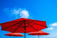 Red Umbrellas (amarilloladi) Tags: minimal minimalist threesame smileonsaturday umbrellas red three redumbrellas california newportbeach balboapier