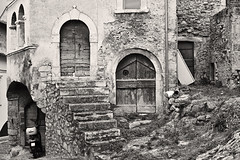 Navelli Architecture, Abruzzo, Central Italy (Claudio_R_1973) Tags: blackandwhite monochrome black white bw sepia lightsepia antique vintage medieval stairs wall construction building architecture navelli centralitaly abruzzo d800 outdoor village urban street road corner detail details