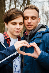 Gay love (uomomare) Tags: rainbow gay couple love lovewins pride lgbt diversity community heart openness affection family story portrait spring young boys outdoors ukraine