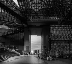 Kyoto Station Building (Andrew Allan Jpn) Tags: kyoto japan travel blackandwhite monochrome greyscale lowkey space architecture light lines urban street streetphotography building happyplanet asiafavorites