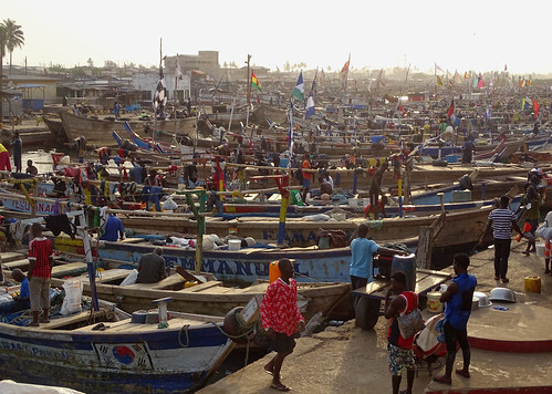 Elmina fishing harbour - a sea of boats