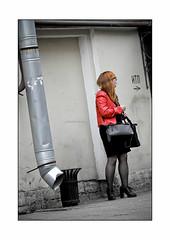 smokin' at the gutter (Armin Fuchs) Tags: arminfuchs stpetersburg russia gutter smoking woman red bag jazzinbaggies cigarette