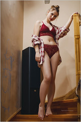 red lingerie (Yepanchintcev Aleksey) Tags: girl beautiful slim sweet young red sexy russian tummy foot feet legs barefoot