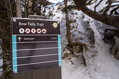 Banff, Alberta Canada - Janurary 17, 2019: Trailhead sign for Bow Falls, a popular waterfall hike in Banff National Park. Photo taken in winter (m01229) Tags: rock falls pine nature water destination snow banffnationalpark national tree north banff outdoors canada ice travel landscape springs sky trailhead rocky mountains fairmont clouds vacation winterscene bow rockies scenic waterfall canadian park evergreen alberta river forest hiking bowfalls fall green trees tourism wilderness mountain