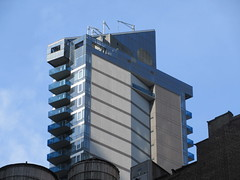 Too Tall Skinny Building With Balconies 3855 (Brechtbug) Tags: too tall skinny building with light clouds above 8th avenue nyc 03142019 new york city pencil tower architecture art buildings towers balcony 2019 near 48th street midtown manhattan penthouse roof top rooftop march