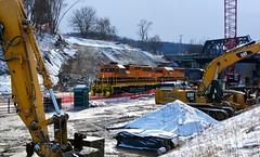 Under Construction. BP 3345. Chewton, PA (bobchesarek) Tags: bprr buffalopittsburgh buffalopittsburghrailroad coaltrain hoppers railroad trains locomotive emdsd403