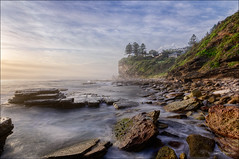 Slow-mo (JustAddVignette) Tags: australia avalonbeach clouds cloudy dawn fog headland hightide landscapes longexposure mist newsouthwales northernbeaches ocean rocks seascape seawater sky sunrise swell sydney water waves