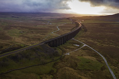 Ribblehead_07 (julesh1966@googlemail.com) Tags: ribbleheadviaduct northyorkshire yorkshiredales sunrise clouds railway landscape grassland ingleborough colour autumn ariel drone