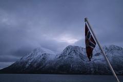 Vesterålen islands (plutogno) Tags: norway arctic circle day light sea hurtigruten kong harald ship ferry post flag