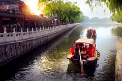 China traditional tourist boats on Beijing (anekphoto) Tags: china chinese lake beijing travel tourism traditional water city river boat nature sightseeing rear houhai tourist architecture view building house culture asia ship canal boats sky old landscape transportation landmark transport town blue style people dock scene history historic famous bridge village beautiful summer spot decoration vintage district pier shichahai