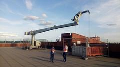 Untitled (marco_albcs) Tags: antwerpen antwerpenwilrijk bel belgium vlaanderen children playing rooftop antwerp mas crane contrast scene