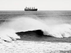 Lauritzen Bulk Container Ship Off Whitley Bay (Gilli8888) Tags: whitleybay coast coastal coastline northsea northeast nikon p900 coolpix sea water marine lauritzen bulk cargo ship vessel blackandwhite waves monochrome