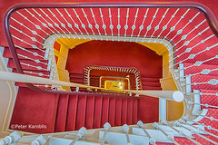 Hamburg - staircase red and white (peterkaroblis) Tags: hamburg treppenhaus staircase haus house building gebäude innenansicht architektur architecture interiordesign innenarchitektur interieur interiorarchitecture lines curves linesandcurves geometry geometrie