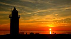 Leuchtturm  Kleiner Preuße in Wremen (Wolfgang.W. ) Tags: wremen kleinerpreuse leuchtturm cuxland landkreiscuxhaven weser nordseeküste leuchtfeuer sonnenuntergang abendrot