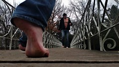 old bridge III (marcostetter) Tags: park nature landscape legs fashion feet barefoot bluejeans jeans travel topless tinyjeans trees hiking