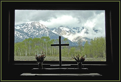 Chapel of the Transfiguration (Photographic Poetry) Tags: grandtetonnationalpark wyoming chapel nature mountains clouds