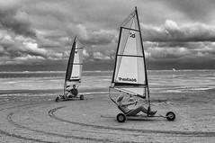 Cart sailing (Only photoshoot, don't be afraid) Tags: sail beach bw blackandwhite sky