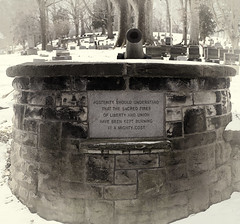Lest we Forget.... (zoomclic) Tags: lestweforget fujix100t civilwar memorial cannon cemetery inscription stone winter truth