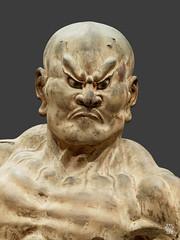 Kongo Rikishi (Vajrapani), Ungyo (bouche fermee). (detail) (sylvain.collet) Tags: museeguimetartsasiatique visage chauve colere japon asie crane muscles statue