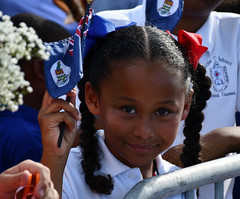 Girl with flag CJ2ed (Cayman Islands Government Information Services) Tags: royalarrival27march cayman royal visit charles prince wales camilla duchess cornwall owen roberts international airport united kingdom great britain