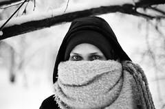 Eyes (multifaceted_m) Tags: blackwhite film filmcamera filmphotography girl portrait winter cold nikonfe2 50mm nikkor1450mm
