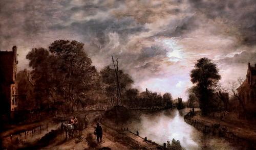 IMG_1108E Aert van der Neer 1603-1677 Amsterdam Paysage éclairé par la lune avec une route au bord d'un cana Moonlit landscape with a road beside a canal  ca 1650 Madrid  Musée Thyssen Bornemisza