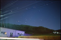 (✞bens▲n) Tags: pentax lx kodak e100g fa 31mm f18 limited film analogue slide stars longexposure dark night landscape nagano japan building power lines