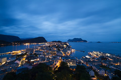 Ålesund at blue hour (smir_001) Tags: ålesund town møreogromsdal sunnmøre seaport artnouveauarchitecture shipping harbour havn jugendstil artnouveau sea canal water reflections architecture beautiful buildings norway norway2018 dusk bluehour cityscape nightscape night pano panorama canoneos7d august summer mountaksla aksla viewpoint 418steps