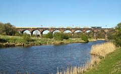 6K05 Over The River. (Neil Harvey 156) Tags: railway 66303 duttonviaduct dutton westcoastmainline wcml civilengineerstrain departmental class66 drs directrailservices dred riverweaver