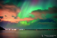 Auroras over Marks Bay (tfavretto) Tags: auroraborealis bay glow horizon lake night northernlights reflection saultstemarie sky skyline stars sunspot water wave spaceweather marksbay