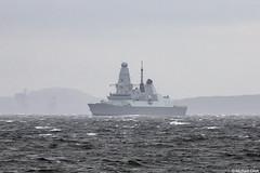 Royal Navy destroyer HMS Defender, D36, IMO 4907878; Firth of Clyde, Scotland (Michael Leek Photography) Tags: ship vessel navalvessel naval nato natowarships destroyer warship rn royalnavy britainsarmedforces britainsnavy firthofclyde clyde hmnbclyde hmnb scotland scottishlandscapes scottishcoastline scotlandslandscapes scottishshipping cowal cowalpeninsula argyllandbute argyll westcoastofscotland westernscotland fog mist rain scotlandinwinter scotlandsbeauty innellan dunoon greenock type45 daringclass daringclassdestroyer michaelleek michaelleekphotography