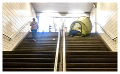 Sleeping Rough!!!! (The Stig 2009) Tags: homeless tent home work charing cross station tube underground steps entrance london sleeping rough thestig2009 thestig stig 2009 2019 tony o tonyo apple iphone 8 plus train traffic lights