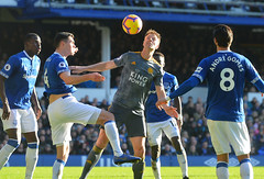 Everton FC v Leicester City (Alex Hannam) Tags: sport soccer clubsoccer liverpool england unitedkingdom gbr leicester leicestercityfootballclub leicestercity lcfc everton jonnyevans