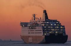On the way.. (reinaroundtheglobe) Tags: ijmuiden sea seascape zee boat boot ferry ferryboat sunset orange netherlands ocean transportation