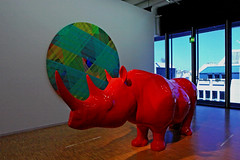 Le Rhinocéros (1999 - 2000) (Clement Tang **busy**) Tags: travel france paris pompidoucentre summer artwork artinstallation sculpture xavierveilhan centregeorgespompidou concordians nationalgeographic redrhinocerossculpture resin polyesterpaint varnish