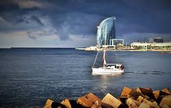Un viaje a la vida/ A trip to life (PURIFM) Tags: sea mar sky outside national water roc dad padre boat sailing costa light seashore barcelona
