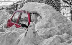 the red car (Flox Papa) Tags: saint jacques des blats cantal neige snow black white noir et blanc n b florent péraudeau flox papa fp canon 1d mark iv sigma 60 600 sport montagne