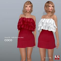 COCO Group Gift : Ruffle Mini Dress (Red) (cocoro Lemon) Tags: coco groupgift valentine ruffle dress secondlife fashion mesh maitreya slink belleza