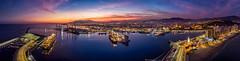 Atardecer en el Puerto de Málaga (juansánchez.) Tags: sunset sunsetbeach puerto de malaga atardecer dji mavic aerial aerialphotography drone