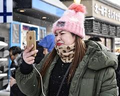 ubiquitous (gro57074@bigpond.net.au) Tags: ubiquitous tamron 2019 february f56 2470mmf28 d850 nikon color colour mobile candidportrait candidstreet streetphotography candid woman japan hokkaido otaru guyclift