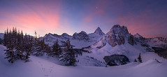 Last Sunrise | Niblet, Mount Assiniboine, Canadian Rockies (v on life) Tags: niblet mtassiniboine mountassiniboineprovincialpark mountassiniboine winter alberta britishcolumbia banff snow pano panorama panoramic canada canadianrockies frozen frozenlake trees sunburstlake sunburstpeak jasper ceruleanlake magoglake lakemagog nublet nubpeak sunrise clouds