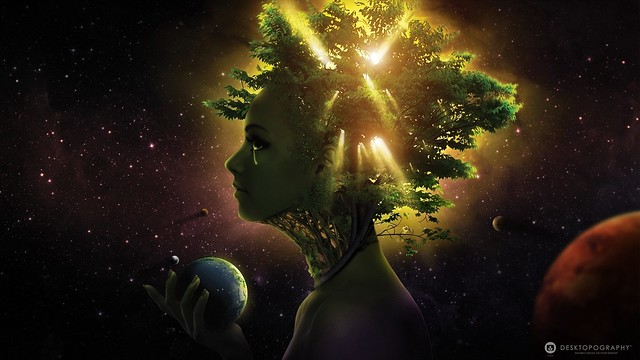 Обои девушка, лицо, дерево, шар, космос картинки на рабочий стол, фото скачать бесплатно