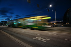 Tram on Mannerheimintie, Helsinki (Joshua Khaw) Tags: tram night helsinki shutter motion finland moving light