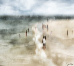 sunday at the beach . . . (YvonneRaulston) Tags: emotive moody texture impressionist people water beach